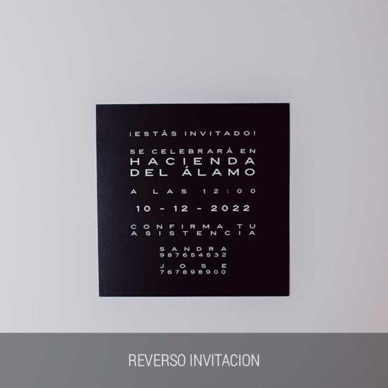 Reverso invitación Black minimal
