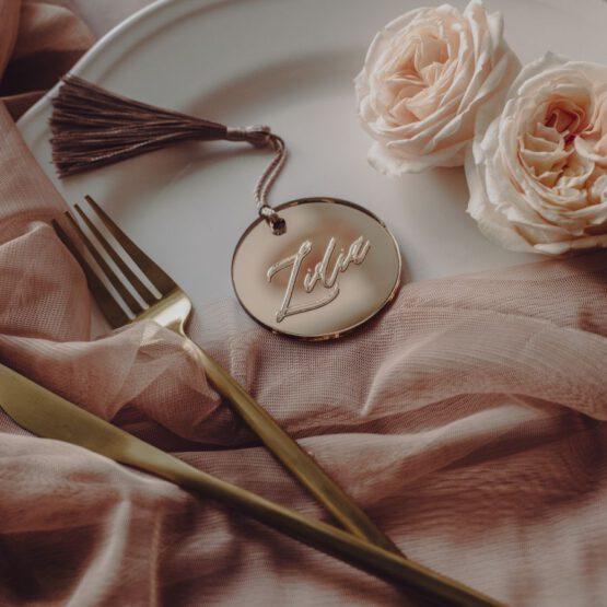 Marcasitio metacrilato redondo oro rosa personalizado