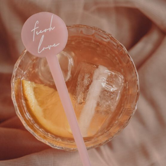 Agitador rosa para bebidas personalizado