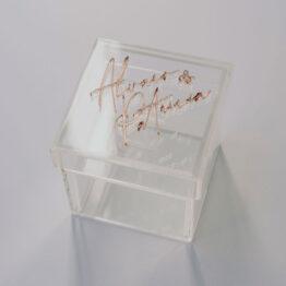 Caja porta alianzas metacrilato transparente